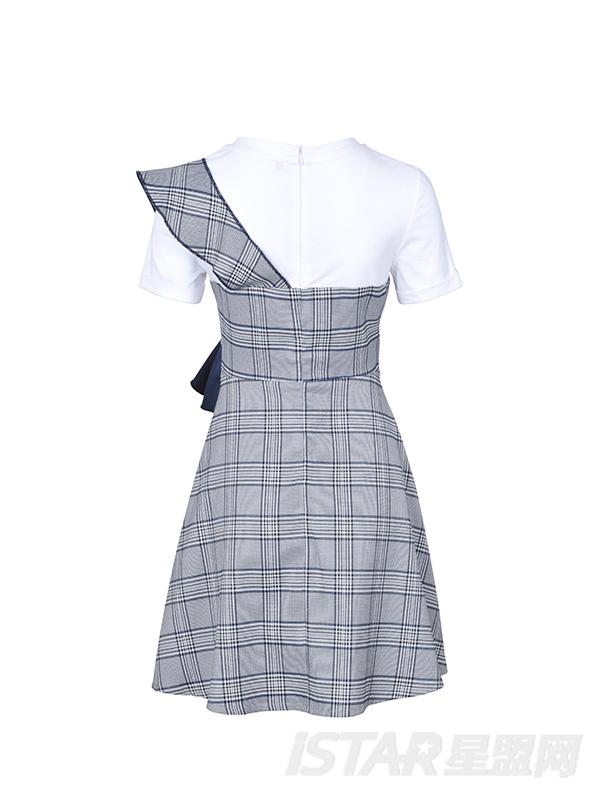 格子荷叶边T恤连衣裙
