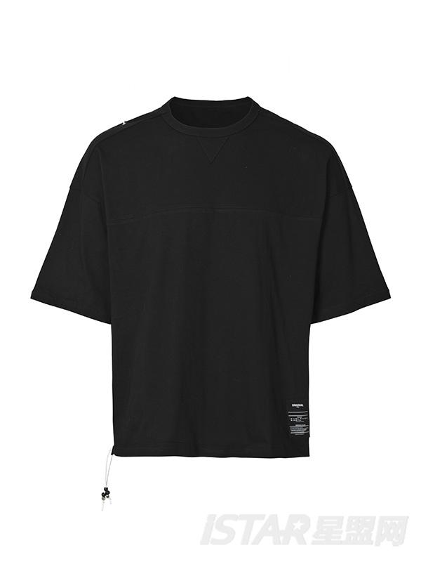 潮牌高街吊绳项链oversize宽松T恤短袖