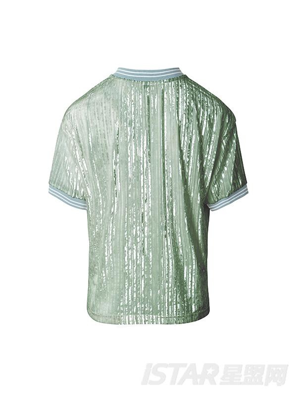 丝绒暗条纹T恤
