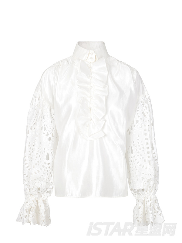 白色水溶花边拼接袖子宫廷衬衣
