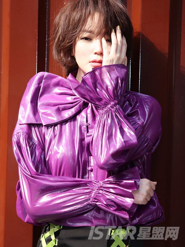 光感蝴蝶结紫色宫廷上衣
