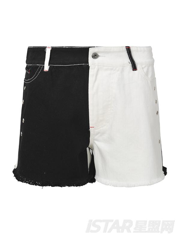黑白拼接毛边牛仔短裤