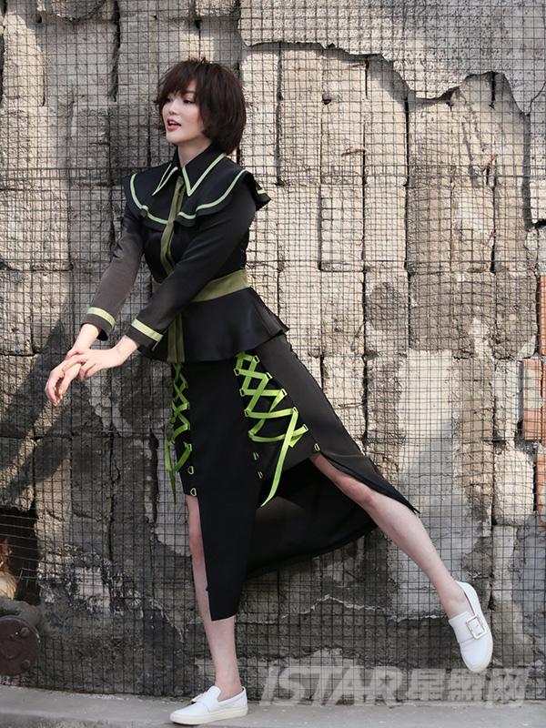 绑带不对称性感长裙