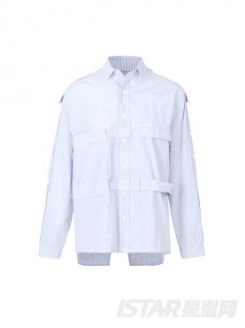 个性不对称设计长袖舒适宽松休闲时尚衬衫