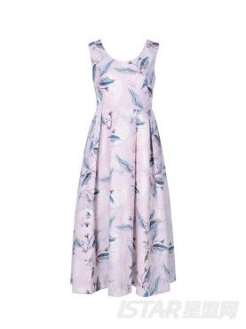 浪漫印花装饰优雅U领休闲无袖连衣长裙