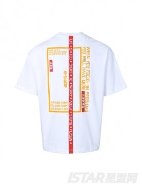 潮牌印花简约汉字字母短袖纯棉T恤