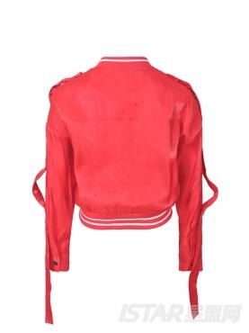 潮流光感个性织带装饰宽松短款长袖外套