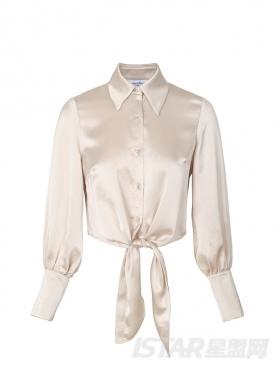 缎面长袖尖领短款衬衫