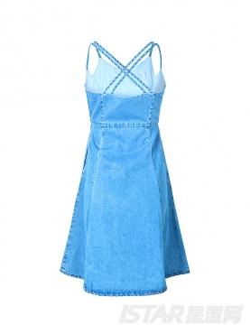 时尚吊带镂空收腰舒适纯棉牛仔裙