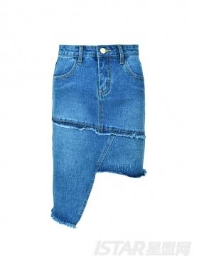 个性不规则牛仔舒适修身包臀时尚短裙