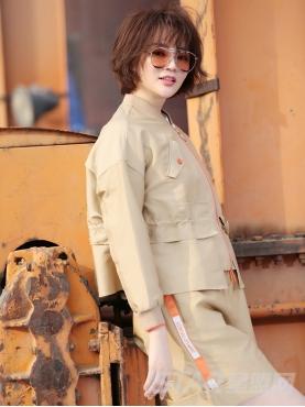 优雅卡其时尚撞色高腰宽松短款外套