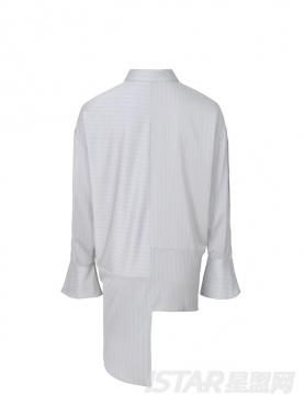 灰色暗条纹装饰不规则长袖优雅衬衫