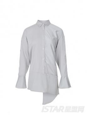 灰色暗条纹不规则长袖衬衫