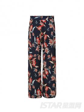 花色度假风宽松长裤