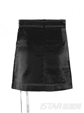 高腰包臀裙黑色a字裙不规则短裙