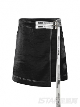 黑色A字高腰撞色不规则包臀短裙