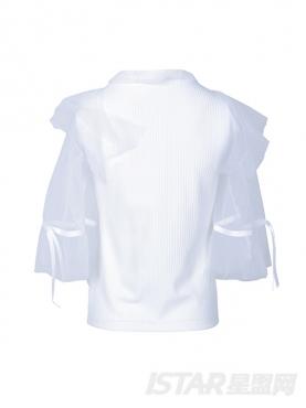 优雅纯白时尚透明蕾丝拼接袖宽松舒适上衣T恤