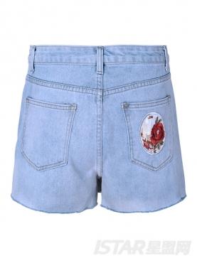 经典蓝舒适洗水牛仔时尚减龄超短裤裙