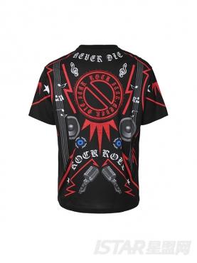 潮爆街头字母ROCKSTAR抽象图案装饰经典黑色纯棉短袖T恤