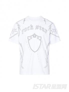 街头ROCKSTAR个性烫钉元素休闲圆领纯棉T恤