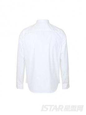 优雅白极简主义个性铆钉装饰修身舒适棉白衬衫