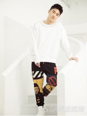 潮流彩色印花元素装饰棉质弹力休闲运动裤
