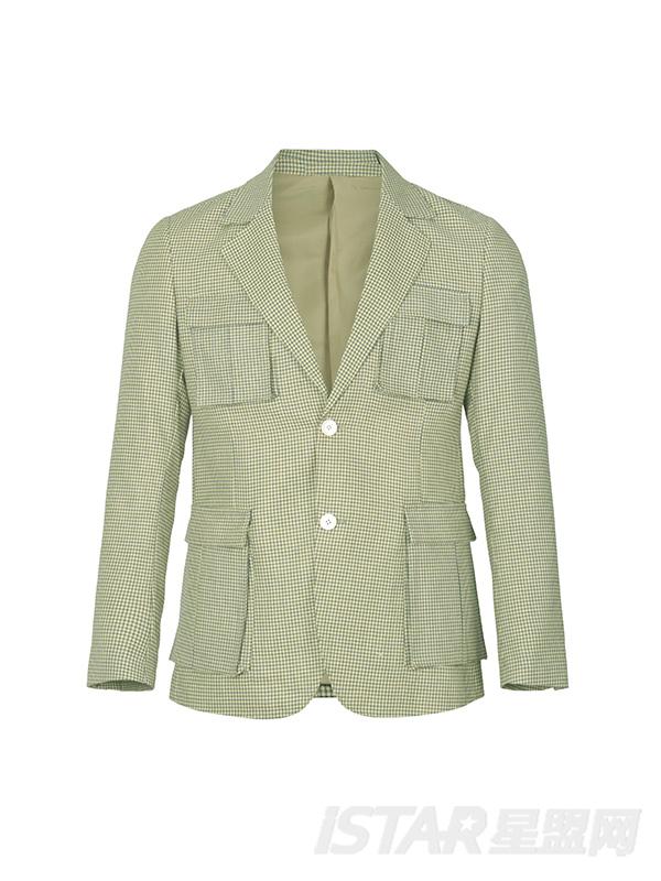 风衣口袋格纹休闲外套