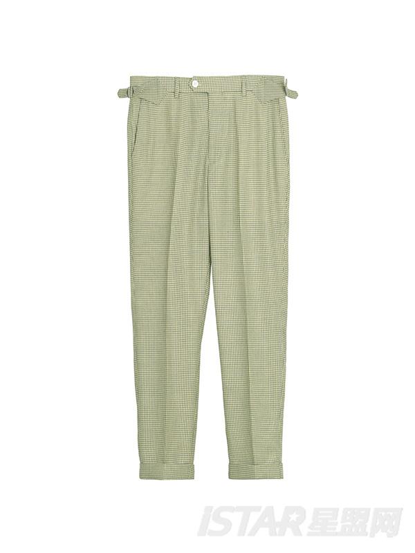 格纹微弹薄西装裤