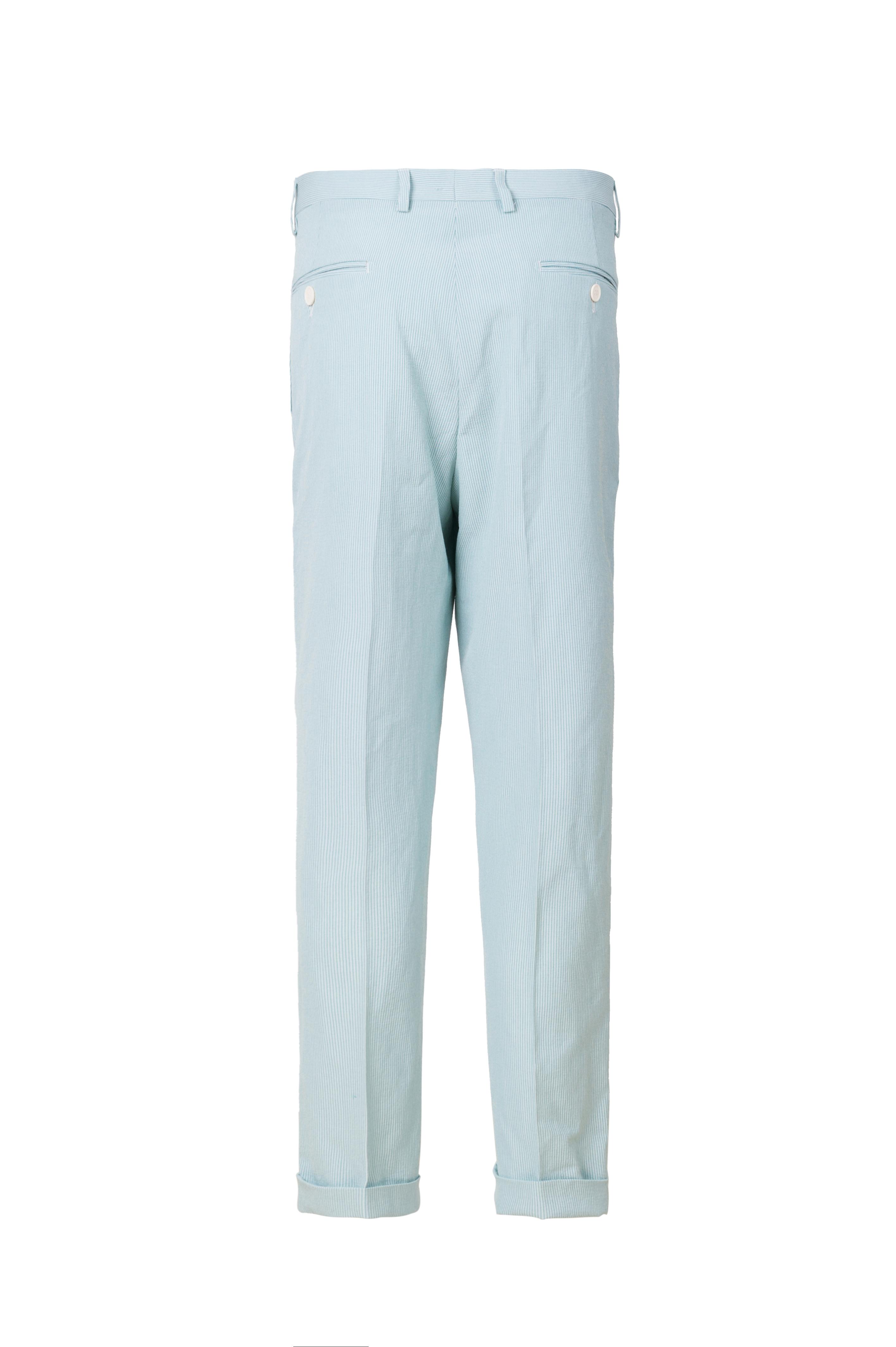 条纹微弹薄荷绿西装裤
