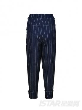 经典牛仔优雅条纹撞色束扣时尚萝卜裤