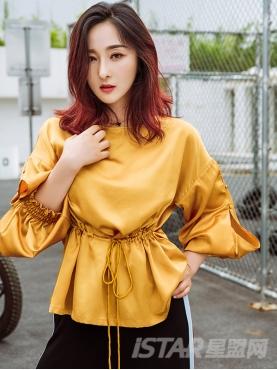 复古姜黄质感珠光面长袖收腰休闲上装