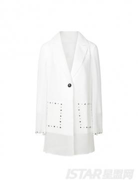 个性铆钉装饰舒适雪纺拼接时尚休闲小西装百搭外套