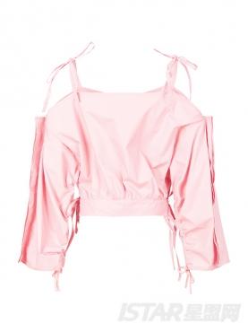 甜美蝴蝶结性感露背短款水粉色吊带背心