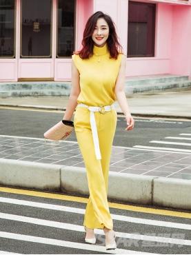 明亮黄时尚紧身个性撞色腰带舒适长裤