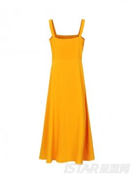 显瘦收腰复古吊带黄色露背连衣裙