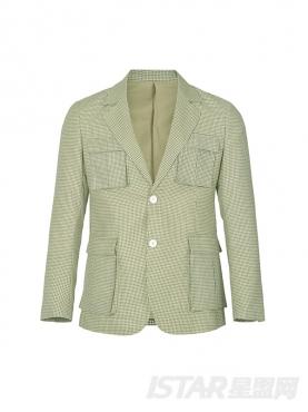 经典格纹时尚风衣口袋装饰舒适休闲百搭潮流外套