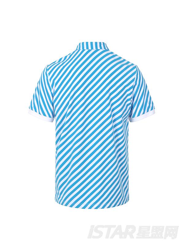蓝白条纹镶银色翻领T恤