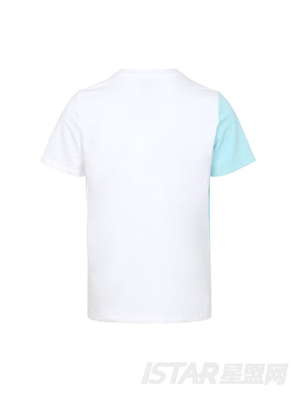 白蓝拼接扣子圆领白T