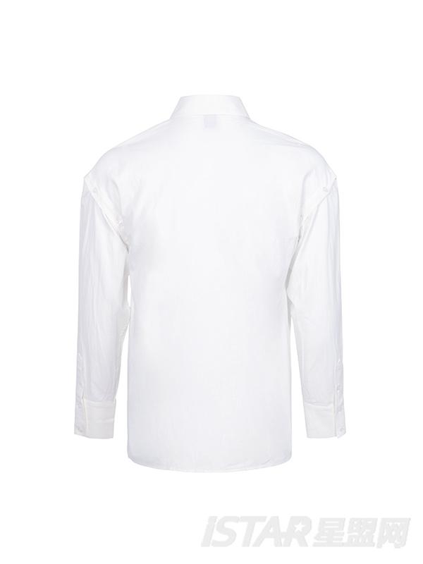 胸前银色条纹印花翻领白衬衣