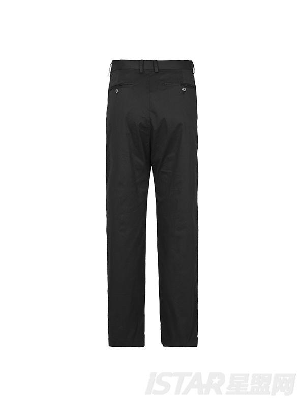 蓝色撞色黑色休闲裤