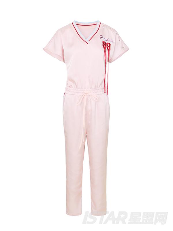 粉色色丁光感绣花连体裤