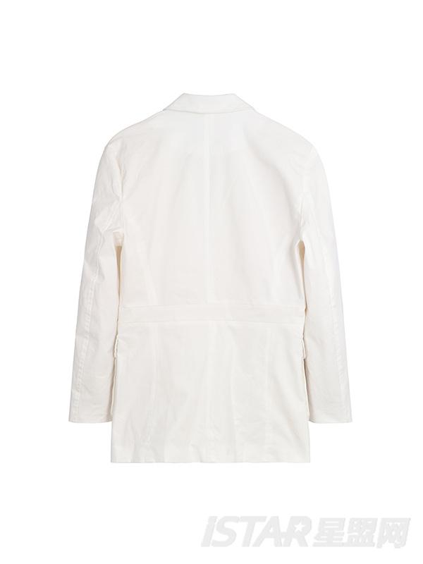 风衣口袋白色休闲外套