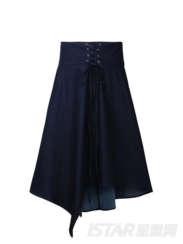 牛仔色绑带伞式女半身裙