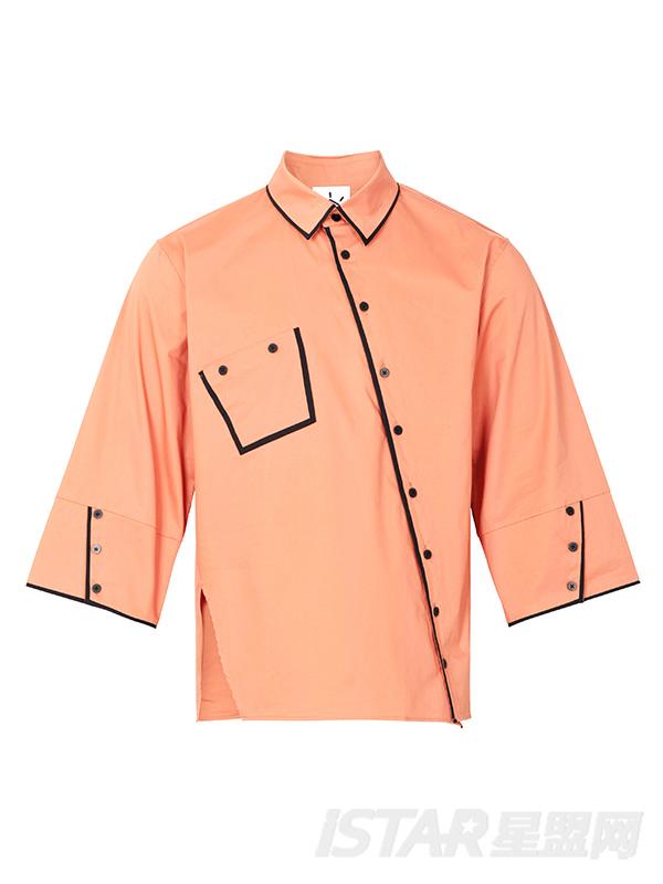 橘色撞黑色织带纽扣中袖设计感男衬衣