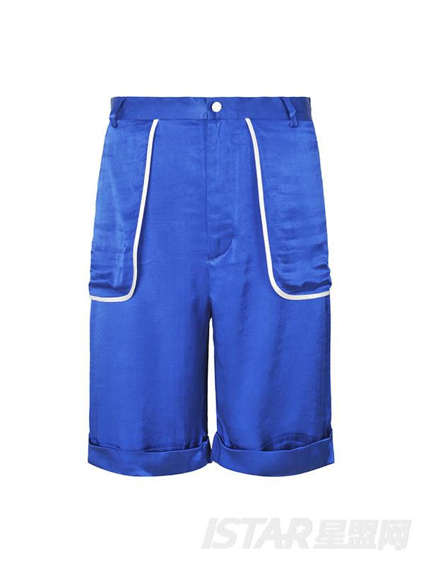 光感蓝色白色包边口袋中裤
