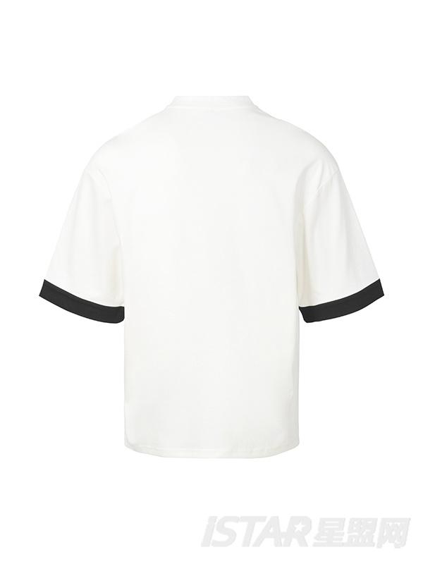 白色贴布领带T恤