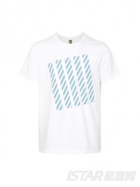 时尚白色个性镶蓝白条纹元素休闲圆领舒适T恤