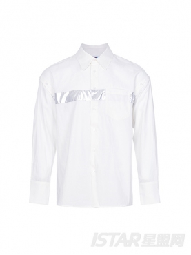 个性胸前银色条纹印花装饰大气翻领时尚纯白棉衬衣