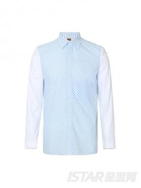 清爽蓝白条纹装饰个性镶白色衣袖时尚尖领舒适棉衬衣