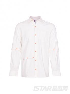个性拼接设计暖橙色扣子装饰优雅白时尚纯棉衬衣